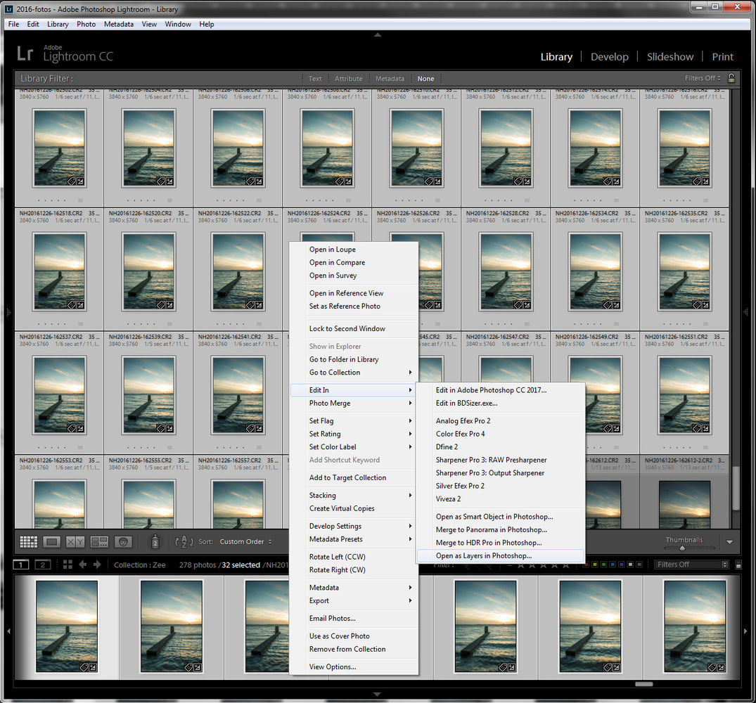 The link between Lightroom and Photoshop makes it easy to load all images into layer in Photoshop by one command in the context menu