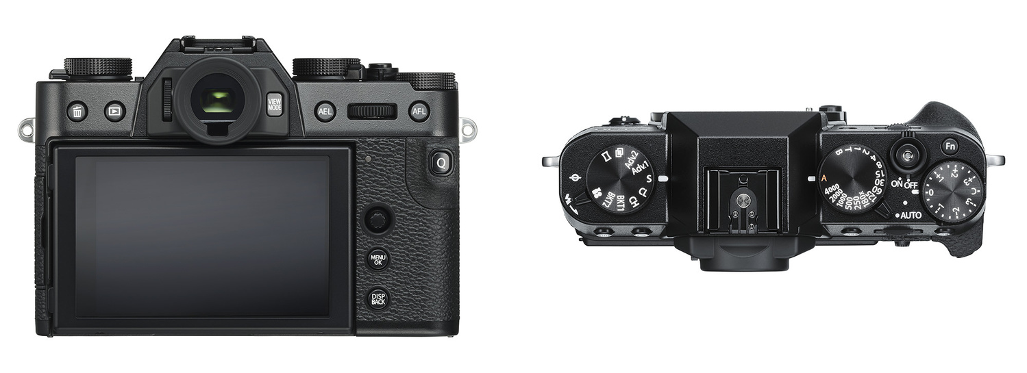 A look at the back and top plate of the Fujifilm X-T30.