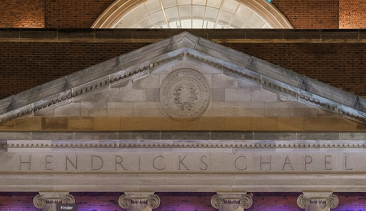 A 100% crop of the previous image of Hendricks Chapel.