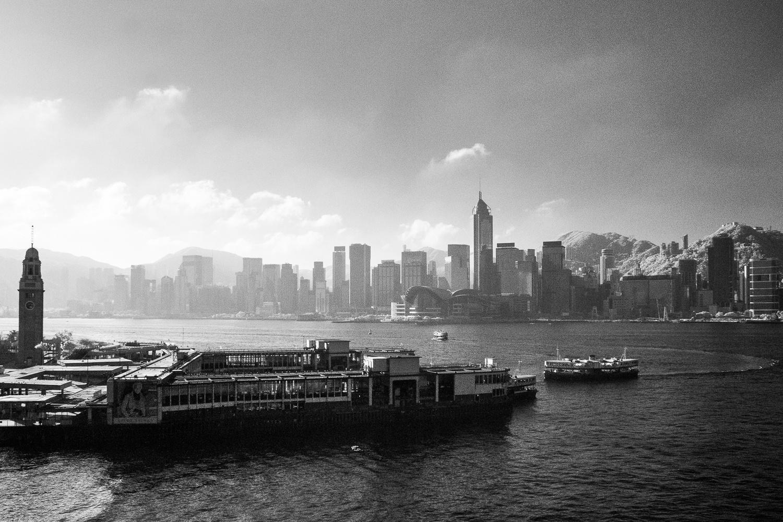 Monochrome image of Hong Kong cityscape