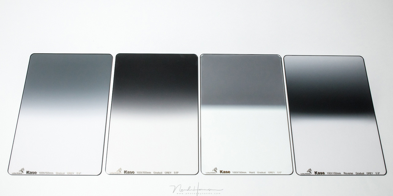 A great set of Kase GND filters. From left to right: soft 0,6GND, medium 0,9GND, hard 0,6GND and the reverse 0,9GND