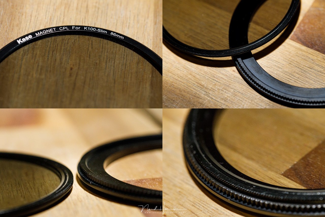 An impression of the 86mm Kase polarization filter, together with the rotating adapter ring.