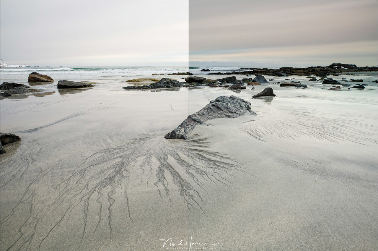 Two shots next to each other, at the left without filter, and at the right with the medium 0,9GND filter. The polarization filter was also installed. Both image received exactly the same post-processing. Any color cast is nearly invisible