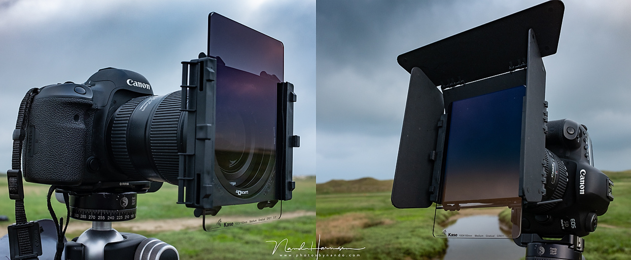 I changed the Lee filterholder for the LucrOit filter holder. This holder stays in place much better. This was the first use of the Kase Wolverine medium 0,9GND filter.