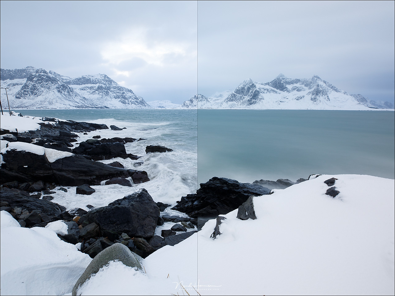 A simple comparison. The left side is without filter and the right side with the Kase ND1000 filter. Both images are shot with 5000K white balance and no post-processing.