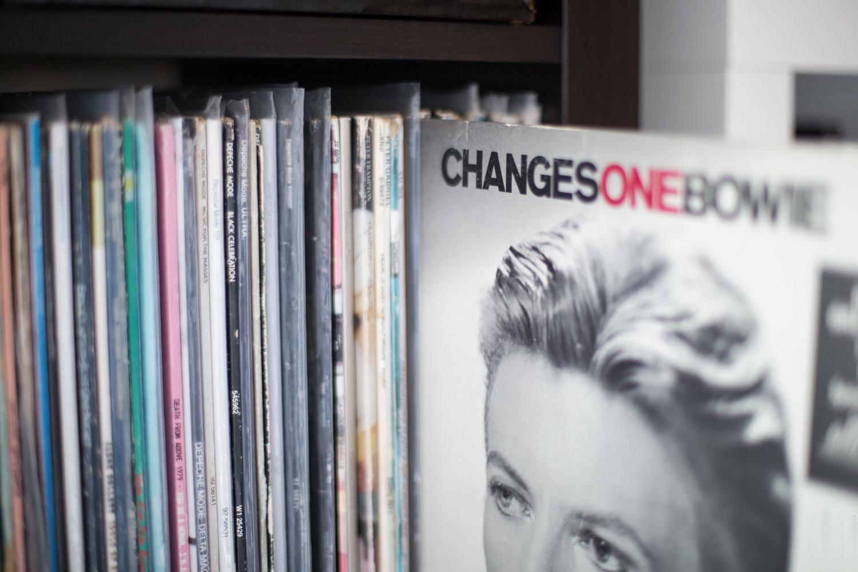 Vinyl albums on set