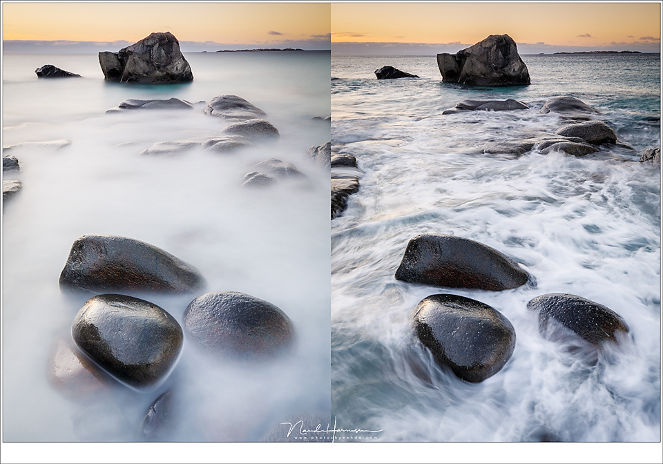 Choosing the right ND filters depends on the effect you want to accomplish, and the light situation. Use a dark ND for misty water, use a less dark filter to catch the dynamics. At the left is shot with the Big Stopper (120 seconds), at the right with a 0