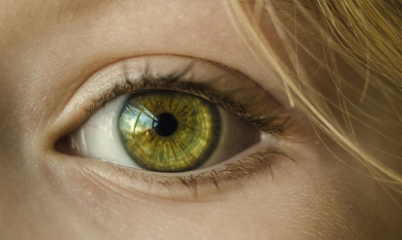 a closeup of a green eye