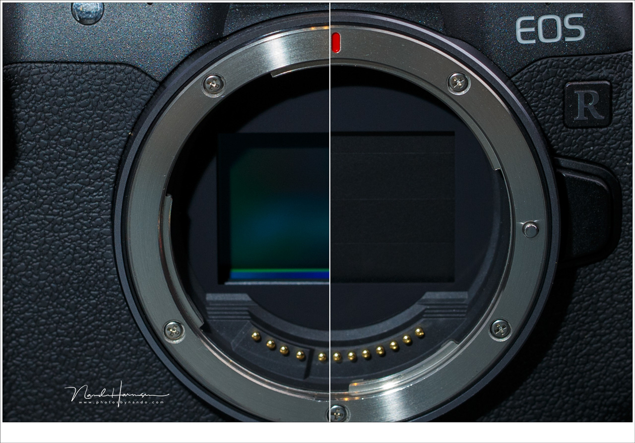 The sensor of the Canon EOS-R is protected when you turn off the camera. Unfortunately you need to turn the camera on again to use the viewfinder. With a DSLR you can always use the viewfinder.