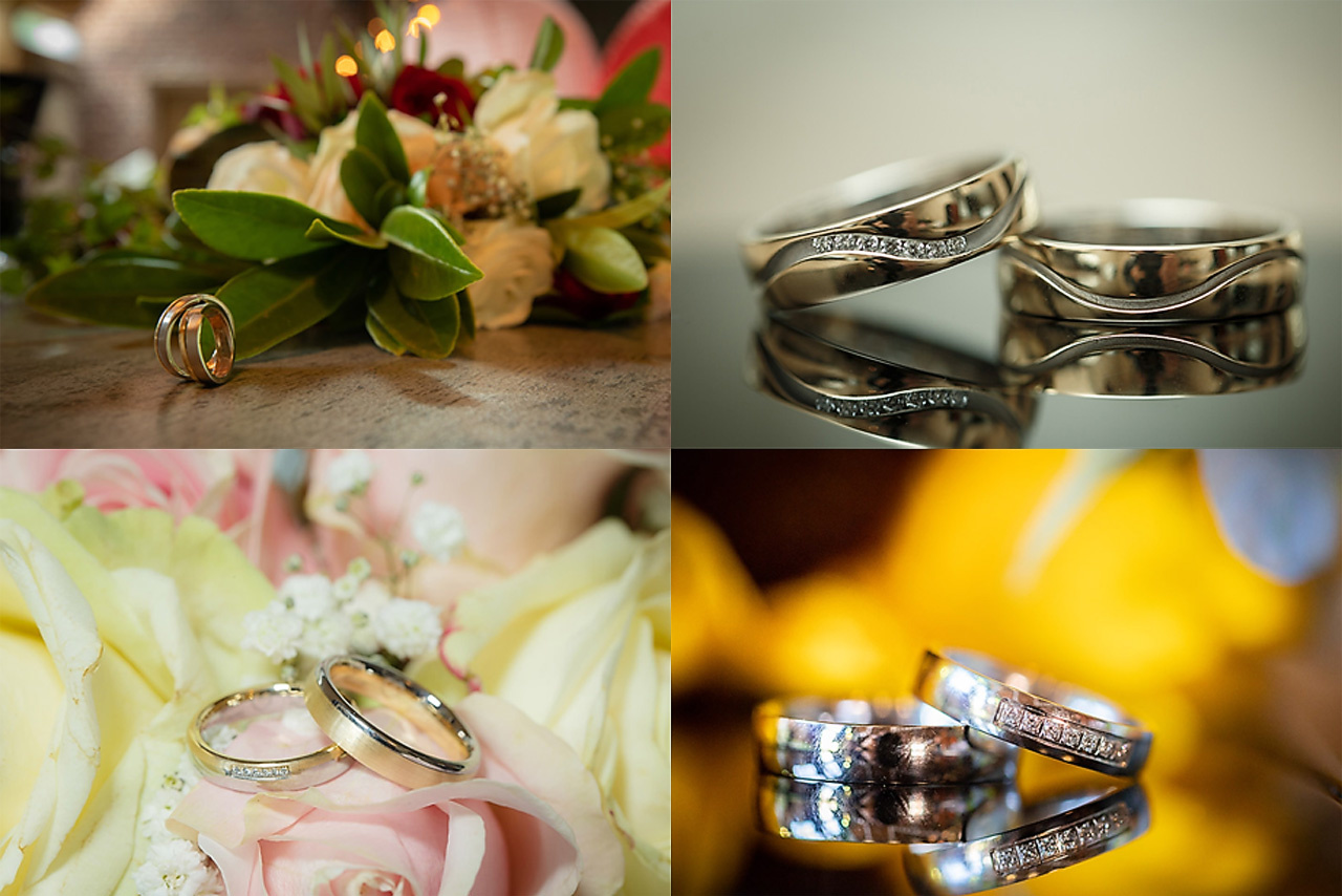 A couple of wedding ring shots I have made previously. I always disliked the reflections in the rings. They show the surroundings, and often even the camera and myself. There is a better way of shootings these images, and Alex Koloskov of Photigy will sho