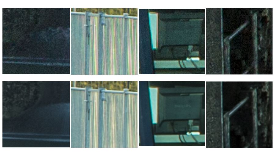 The top images are the normal resolution, the bottom images the super resolution. You can see a increase in resolution as well as a reduction in noise levels.
