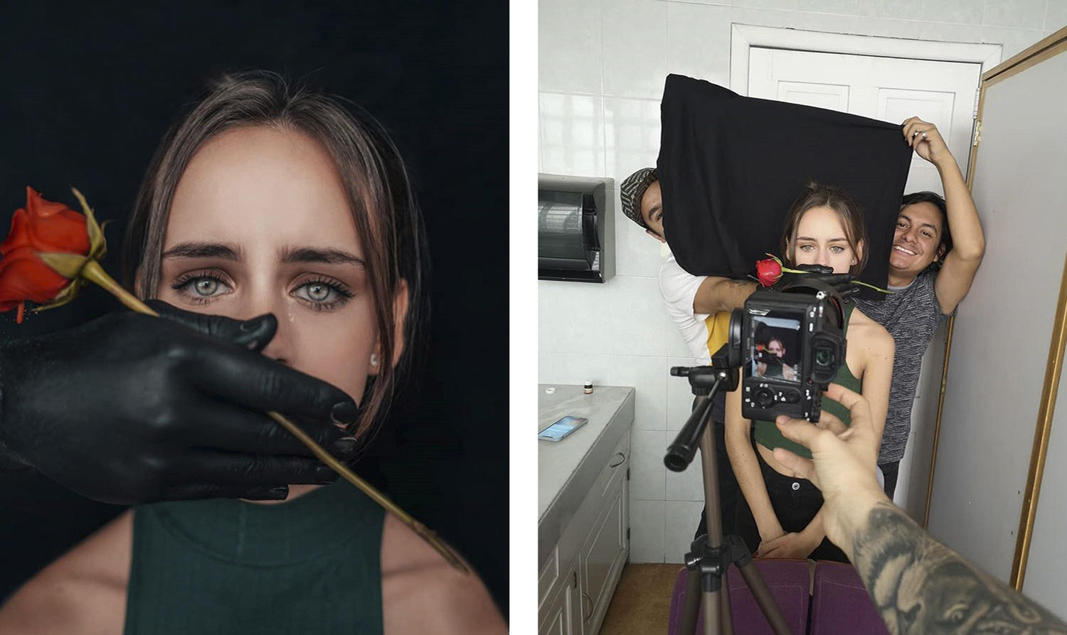 a behind the scenes photo of a female portrait