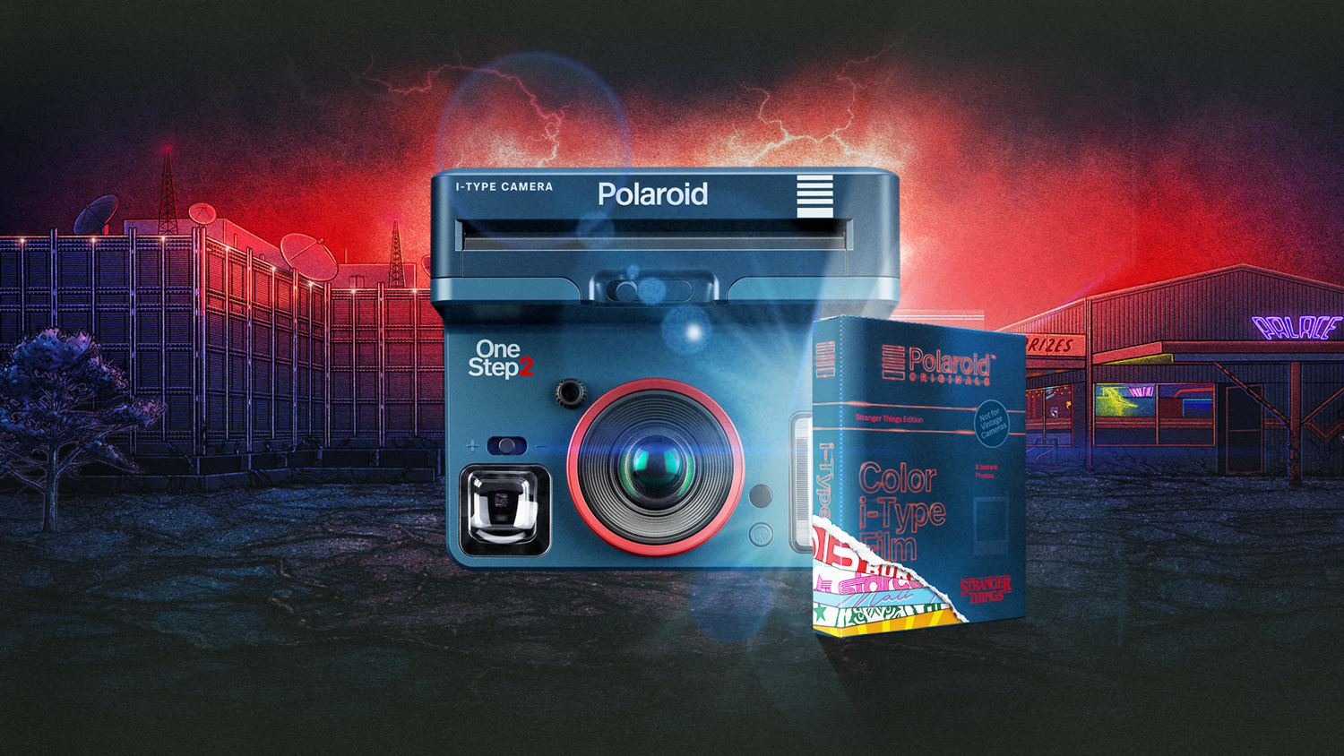 a promotional image for the Stranger Things Polaroid camera and film