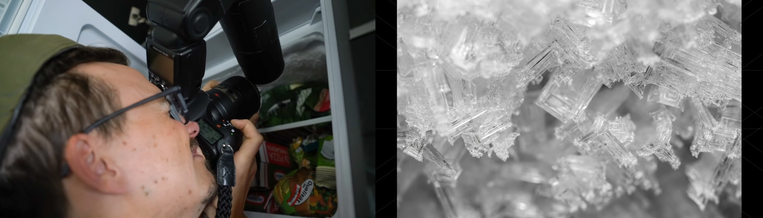 behind the scenes diptych of a photographer capturing macro ice crystals in a freezer