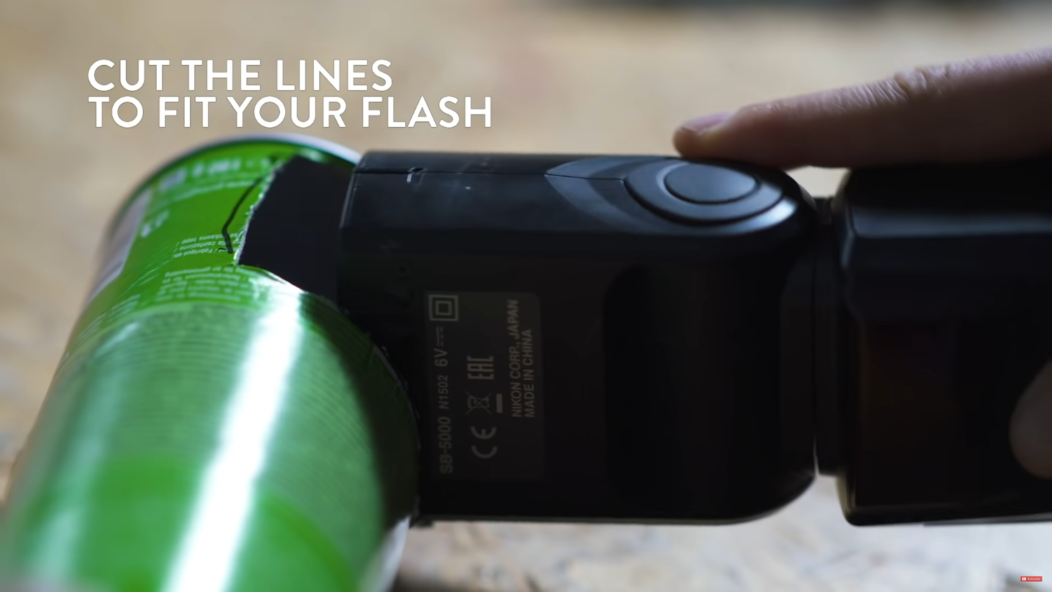 a screenshot showing how to fit a flash into a DIY macro flash tube