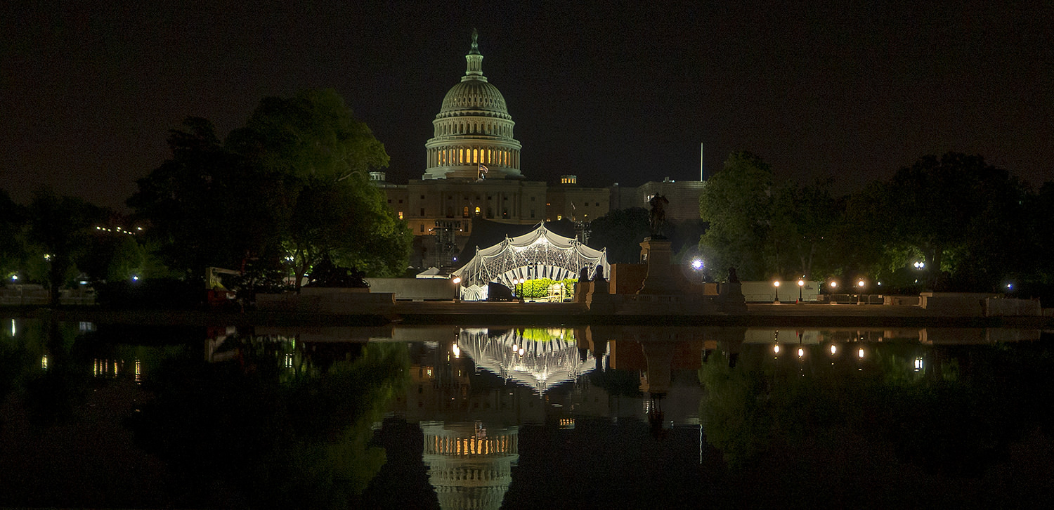 The stage set up for the Memorial Day concert ruined reflection opportunities for the Capitol Building. I had to think fast for something else.