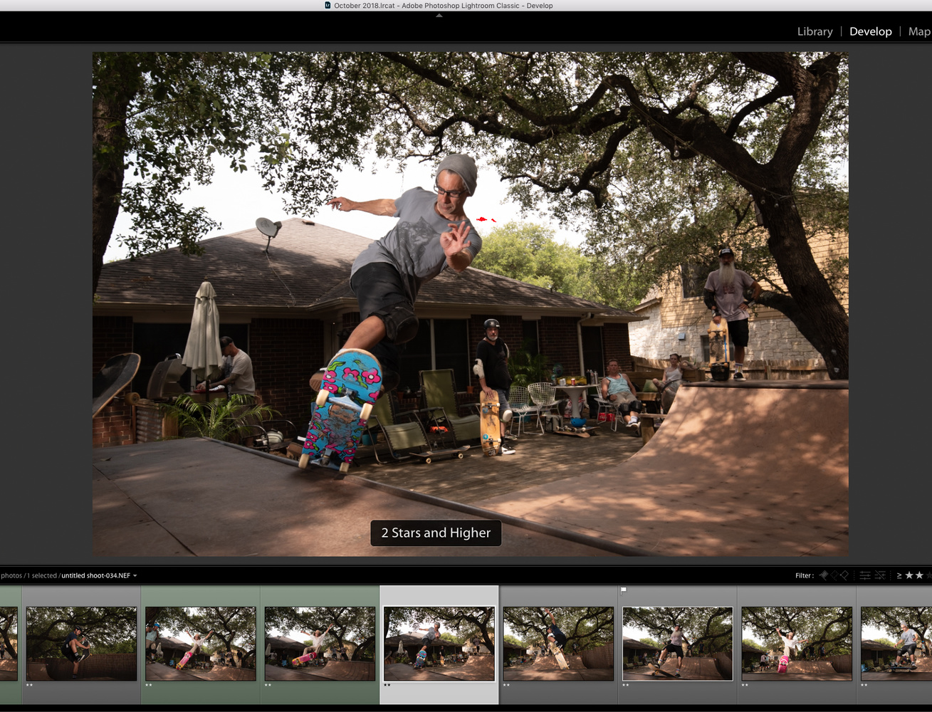 a screen capture showing how to sort by 2 stars in Lightroom