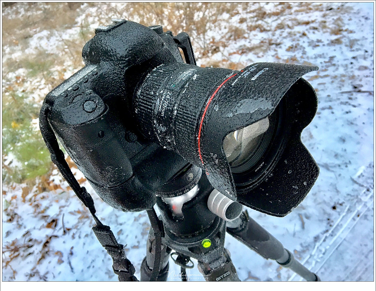 My camera covered with sleet. I never had my camera covered in ice like this, but it kept on working without problem. The only concern is to keep the lens free from condense, ice and water drops.