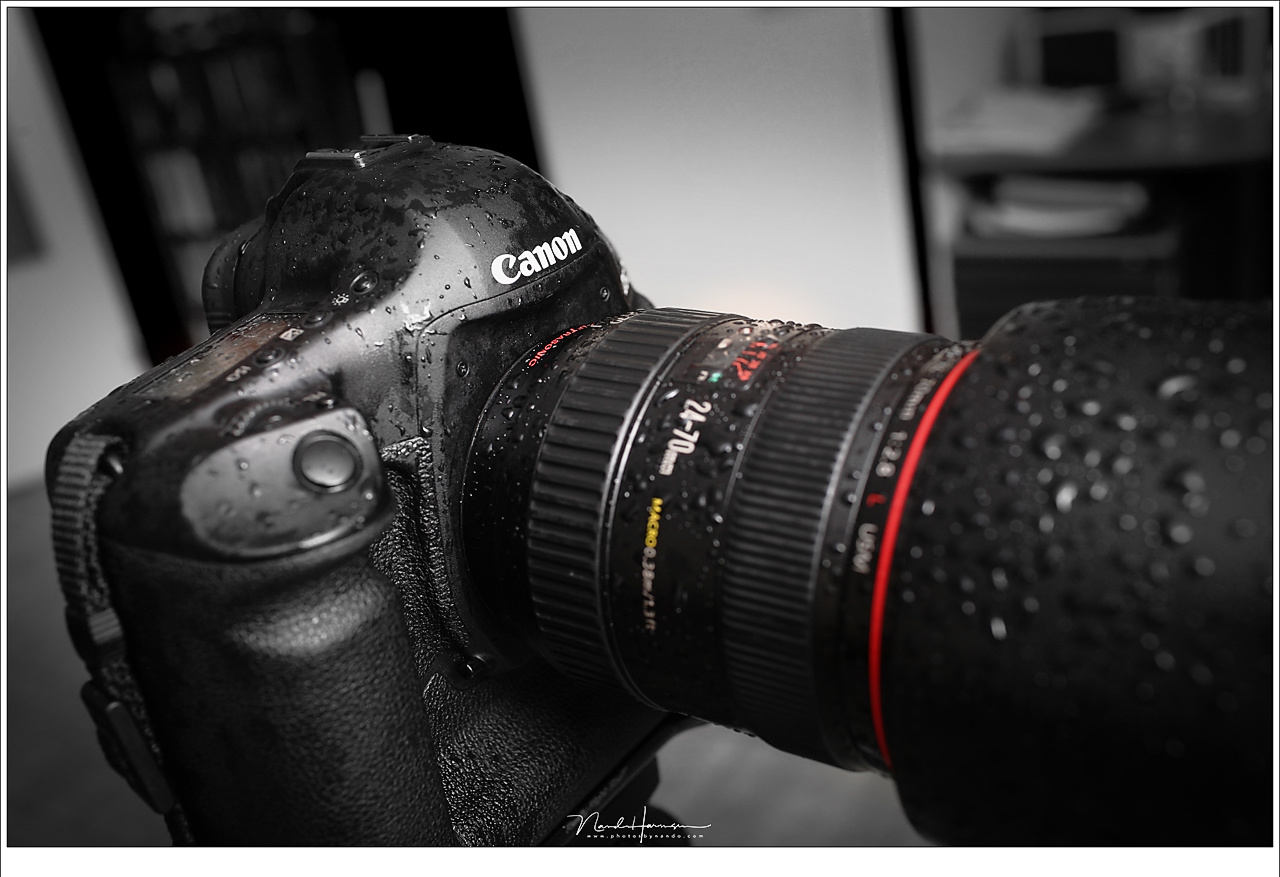 I don't mind when my camera is getting wet, like this Canon EOS 1Dx and EF24-70mm lens. As long as you don't put it in a bag or rain cover, so I learned.