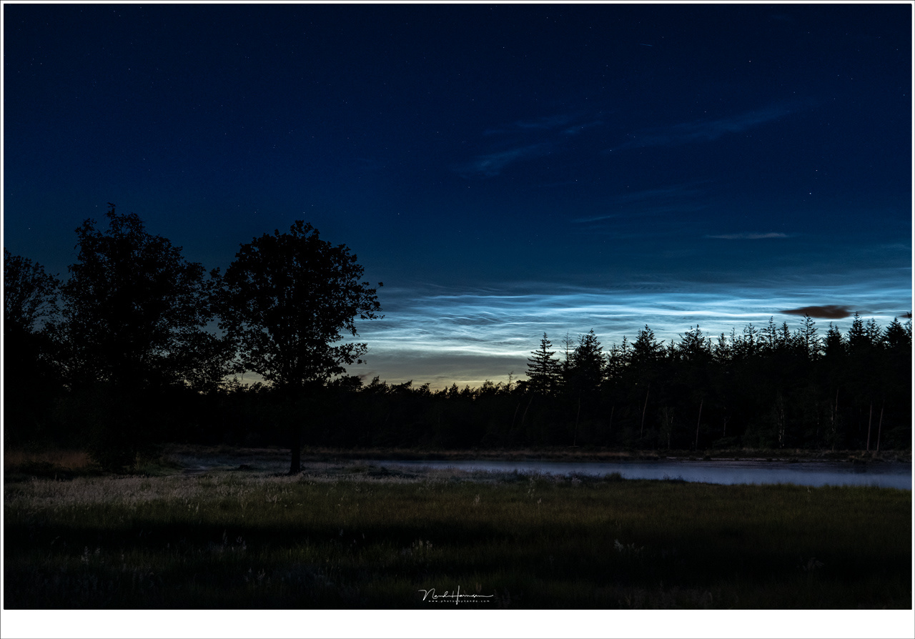 We went to a small fen, where evening fog crawled of the water. Further away, high in the sky but low at the horizon, noctilucent clouds shine bright in the night sky. It was a wonderful experience being there, seeing it. (Lumix DC-S1 + 51mm | ISO6400 | f