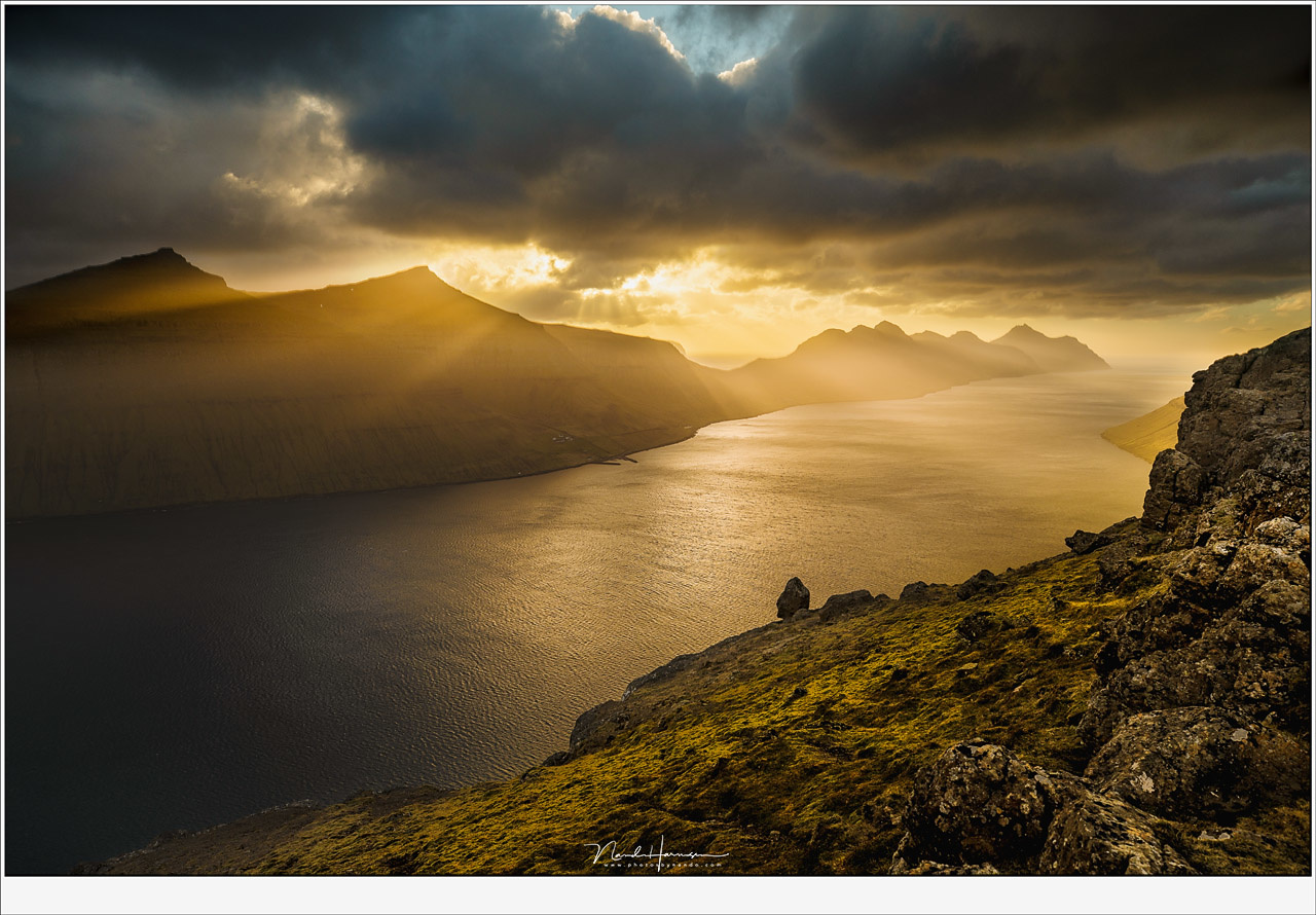 Amazing light at an amazing location. On top of mountain Klakkur at the Faroe Islands watching a great sunset. What would you give to shoot landscapes at such a location? (Canon EOS 5D4 + 23mm | ISO100 | f/8 | 1/640)