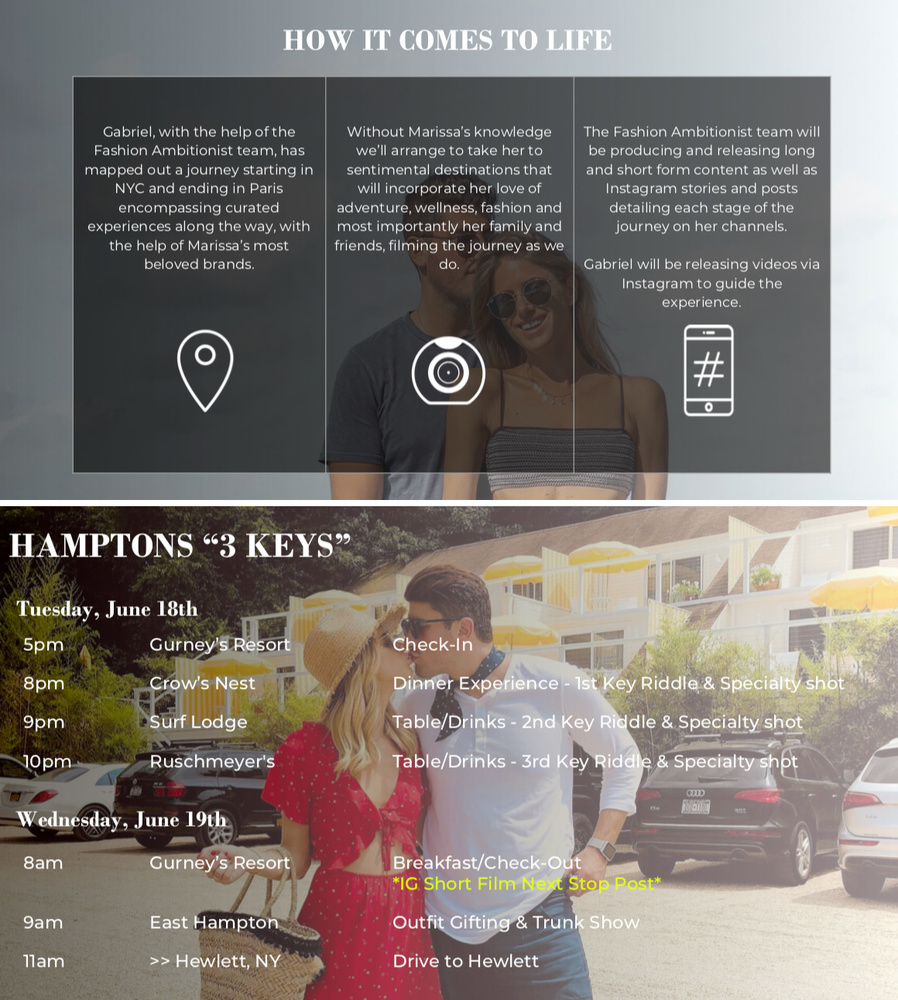 Example pages from the couple's pitch deck sent to companies and media outlets.