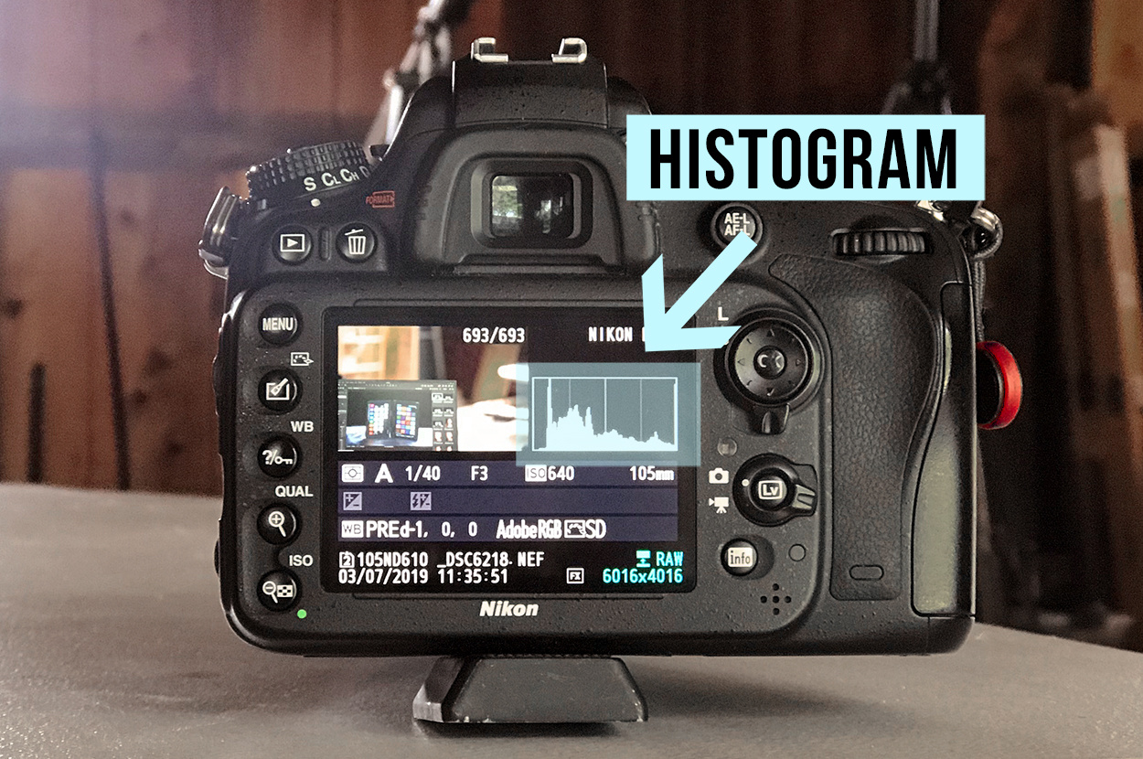 Nikon D610 previewing the histogram