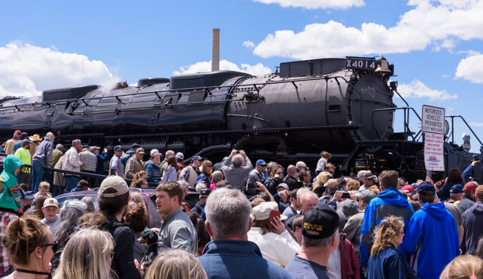 Photograph of the Union Pacific 4014 Steam Locomotive in Laramie, Wyoming.