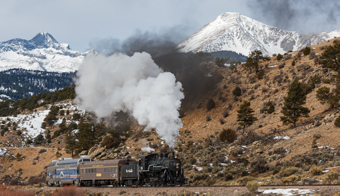Photograph of a steam train in the mountains of Colorado