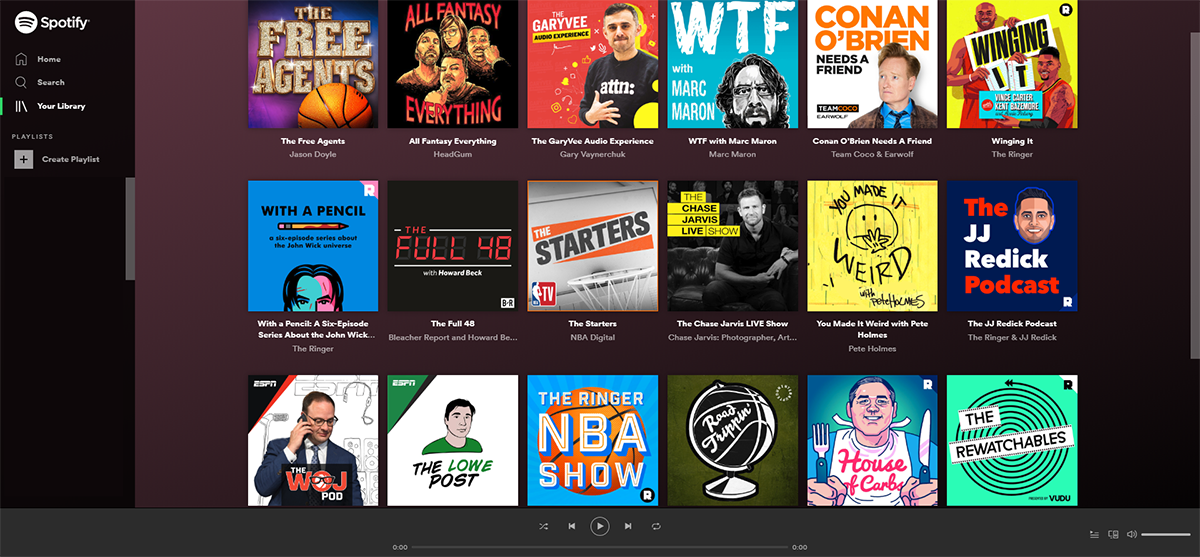 Screenshot of podcasts on Spotify