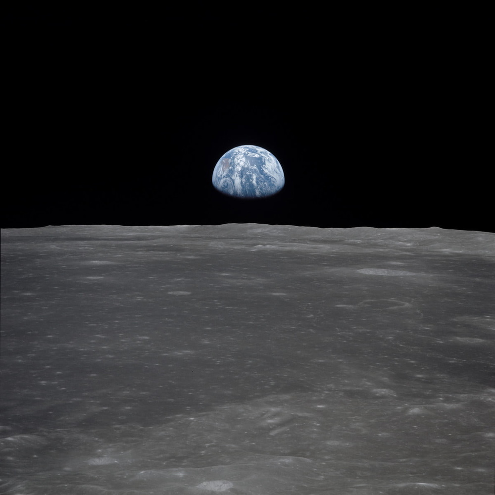 Image of earth over the mon