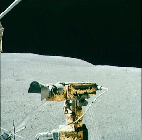 Moon tv camera mounted on moon buggy