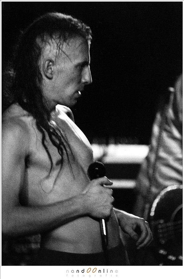 A scanned 400 ASA negative film that has been exposed as if it was ASA 1,600. A lot of grains are visible because of the forced development of the film. (Tool, shot on stage, live at Eindhoven, 1994)