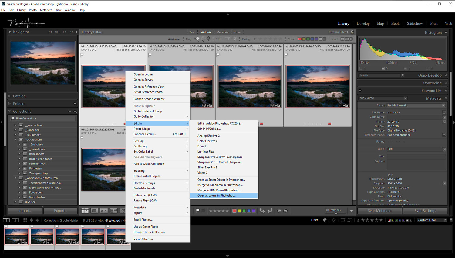 Transfer the selected images to Photoshop. You can choose to open all selected images into layers, which is very convenient.