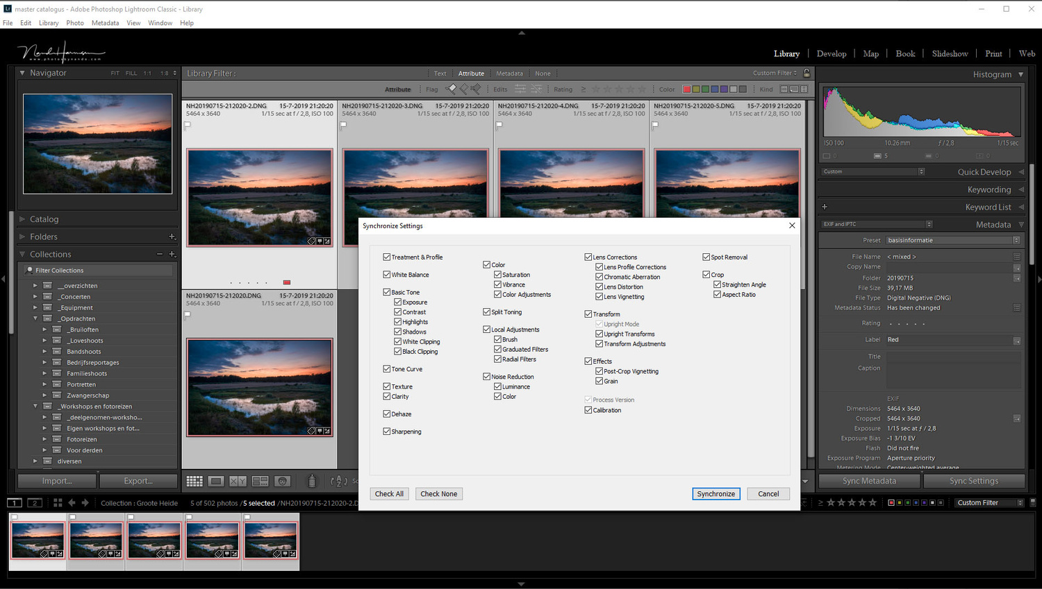 All five images will have the same post production before we continu stacking. Just process one of the five to your liking, and copy the settings.