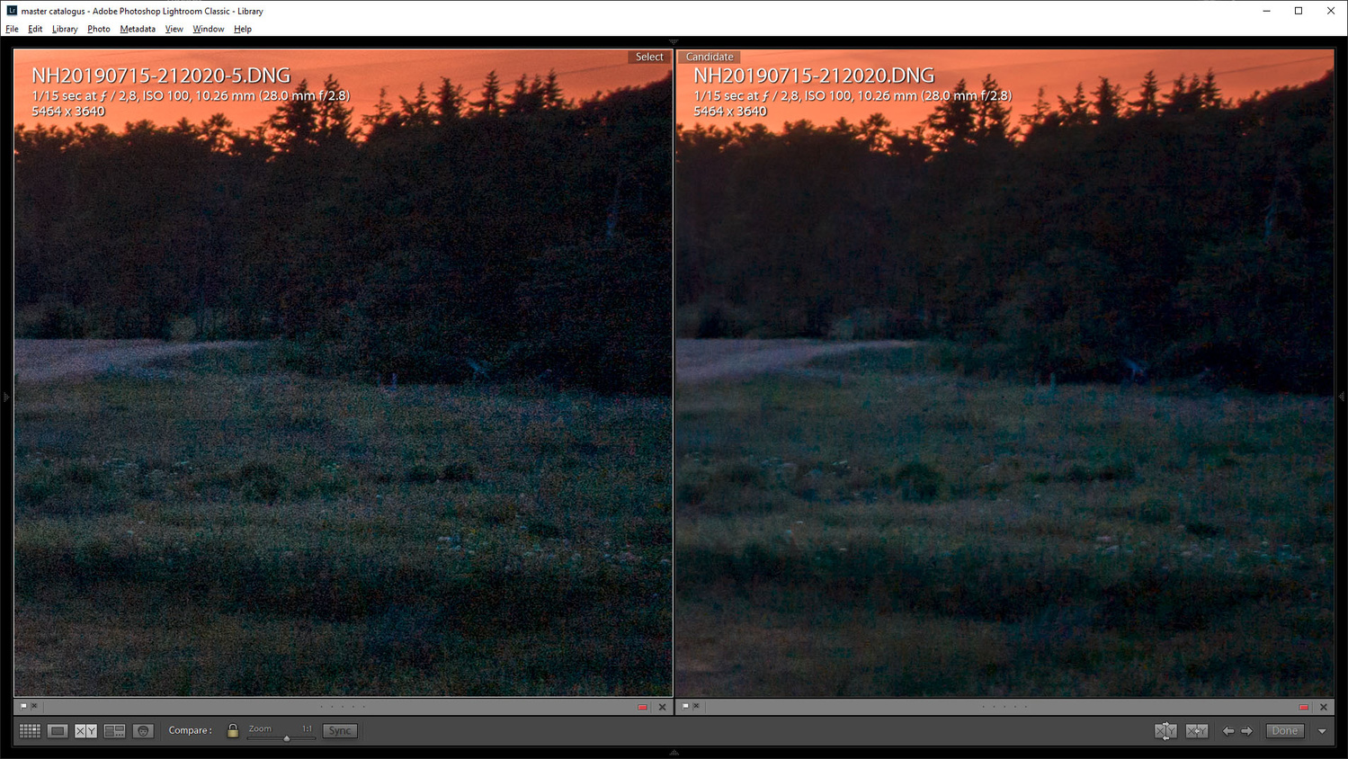 After post-processing a lot of noise is visible (left image). By reducing noise too much details are lost. This is not what we want. By stacking multiple images we can reduce noise and keep the details.