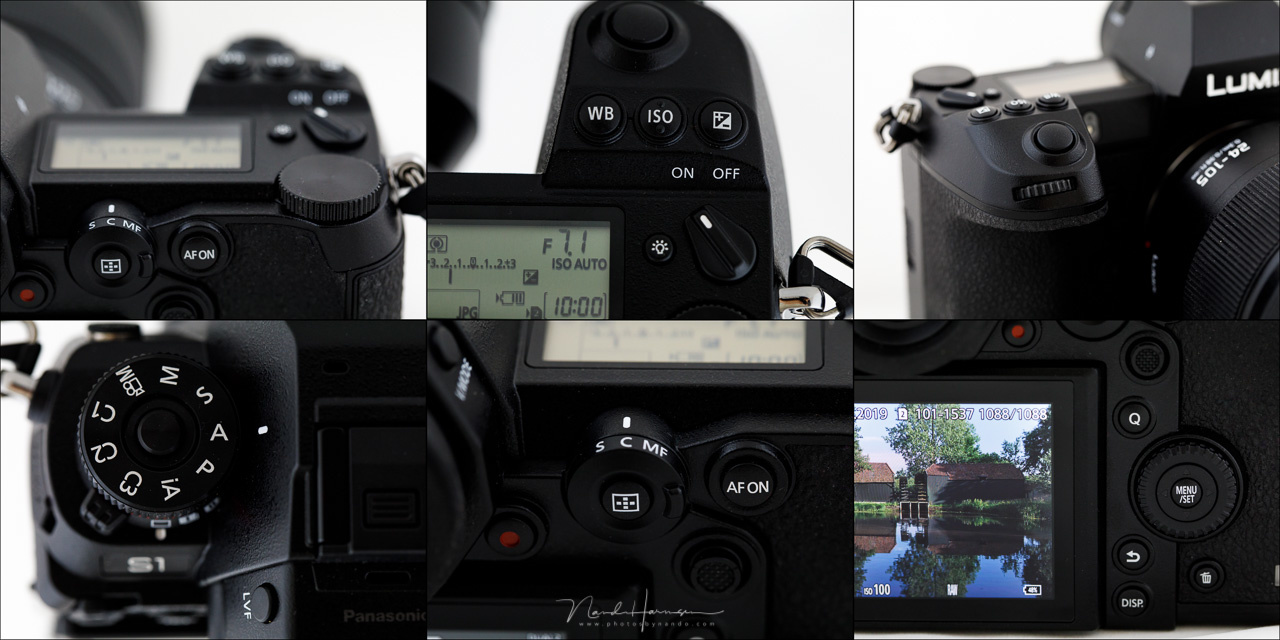 An overview of the Lumix S1. Enough buttons and dials to operate the camera in a very convenient way.