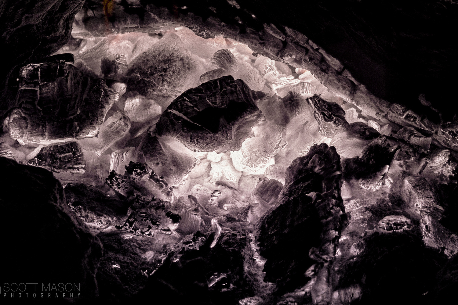 glowing coals in a campfire, photographed in infrared
