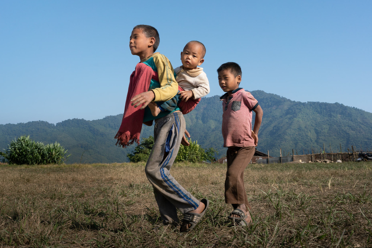 Three young children from a local Nagaland tribe