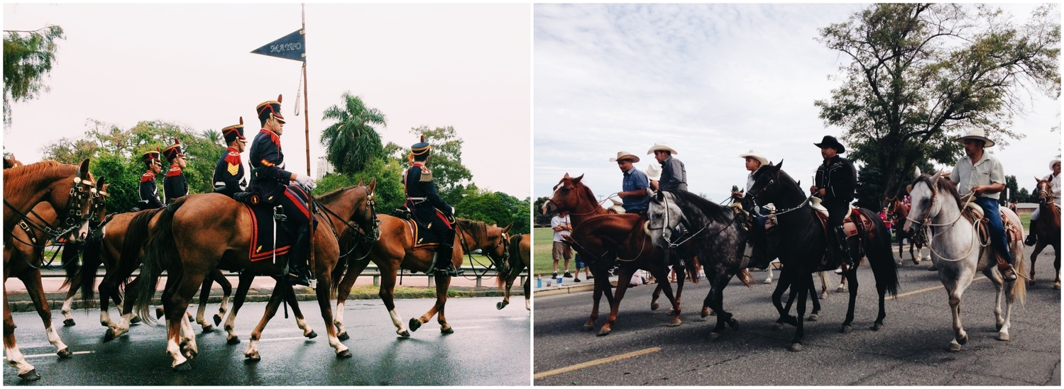 A diptych of a horse parade