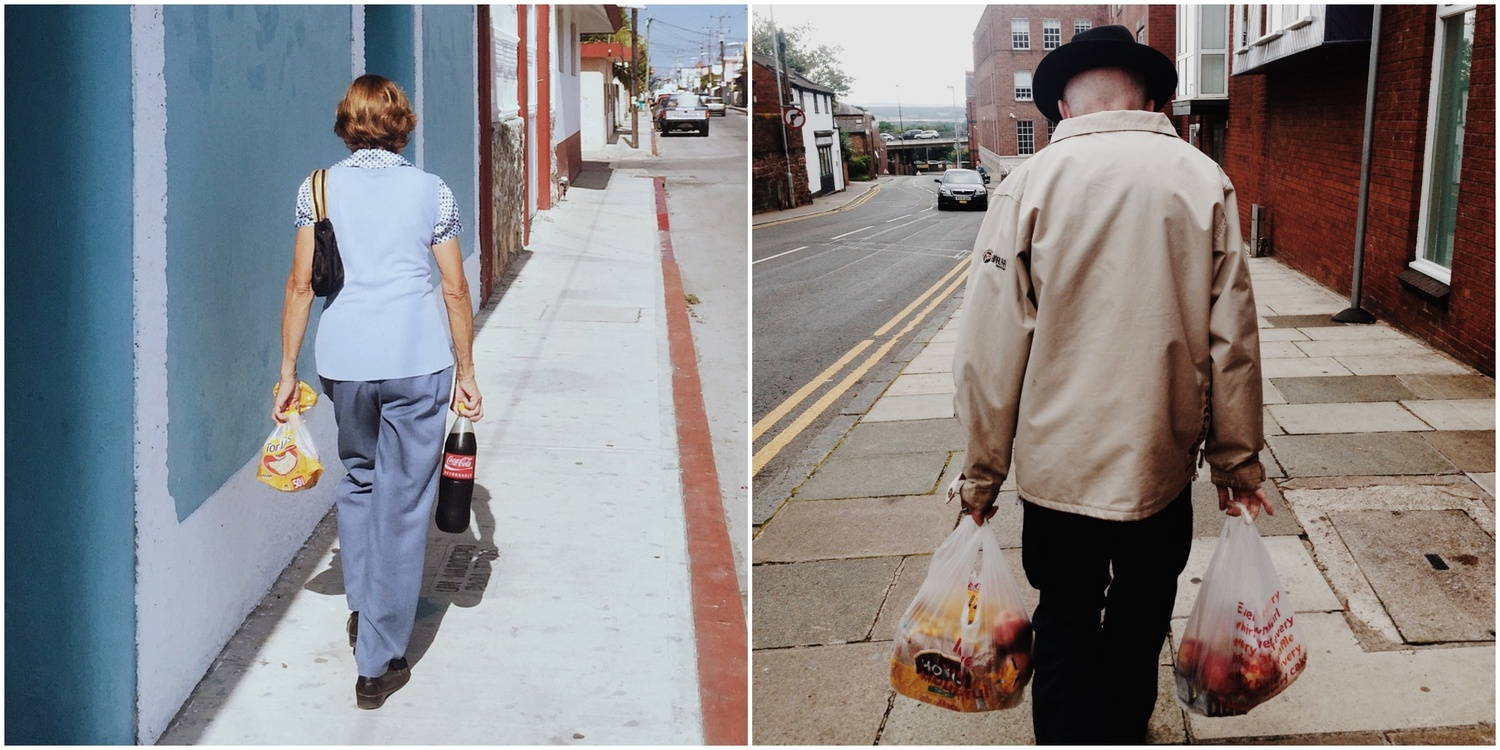 A diptych of two people carrying their shopping bags