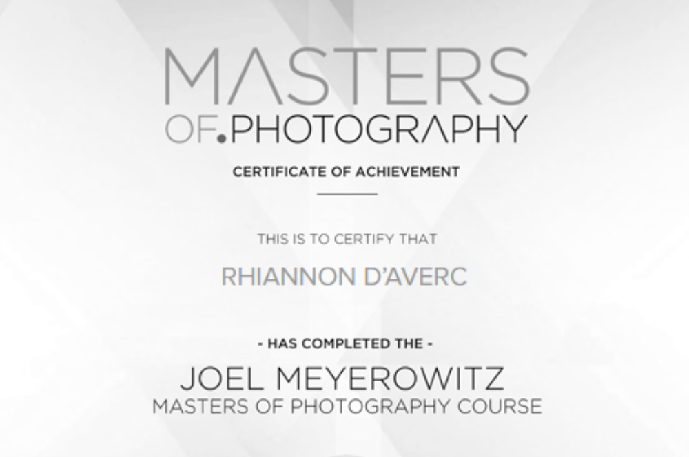 masters of photography completion certificate