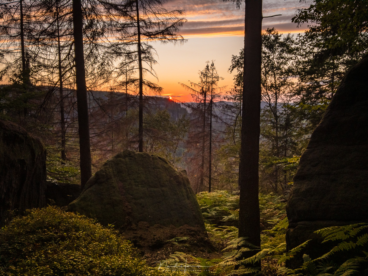 Sunset from the path over the Kleiner Winterberg. A quick capture with my smartphone in DNG file format and post-processed in Lightroom. (iPhone 6s | 4mm | ISO25 | f/2,2 | 1/900 with -2,7EV | HDR setting enabled)