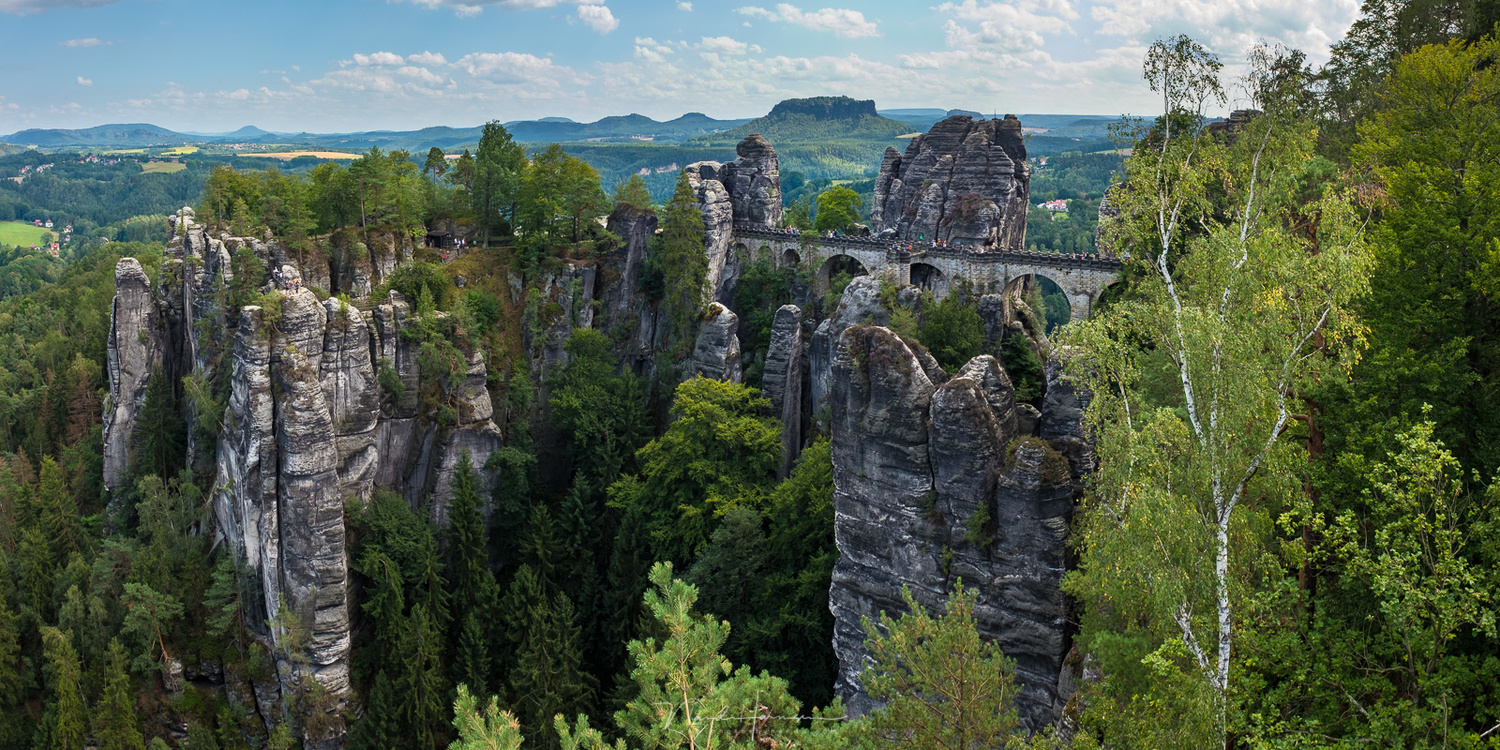 The famous Bastei, shot with my Fujifilm. It is a handhold panorama, stitched in Lightroom. (Fujifilm X100t | 23mm | ISO200 | f/10 | 1/140 with -1EV)