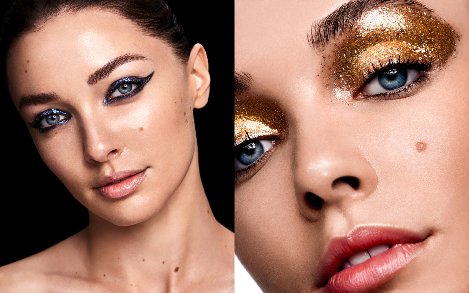 Beauty photo with glitter eyeshadow