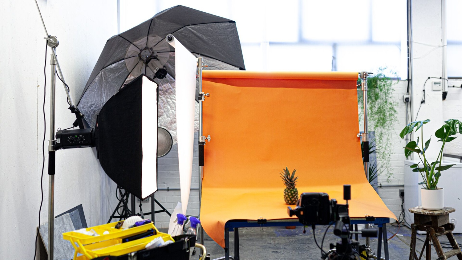 set up for a food photography lighting test comparing modifiers