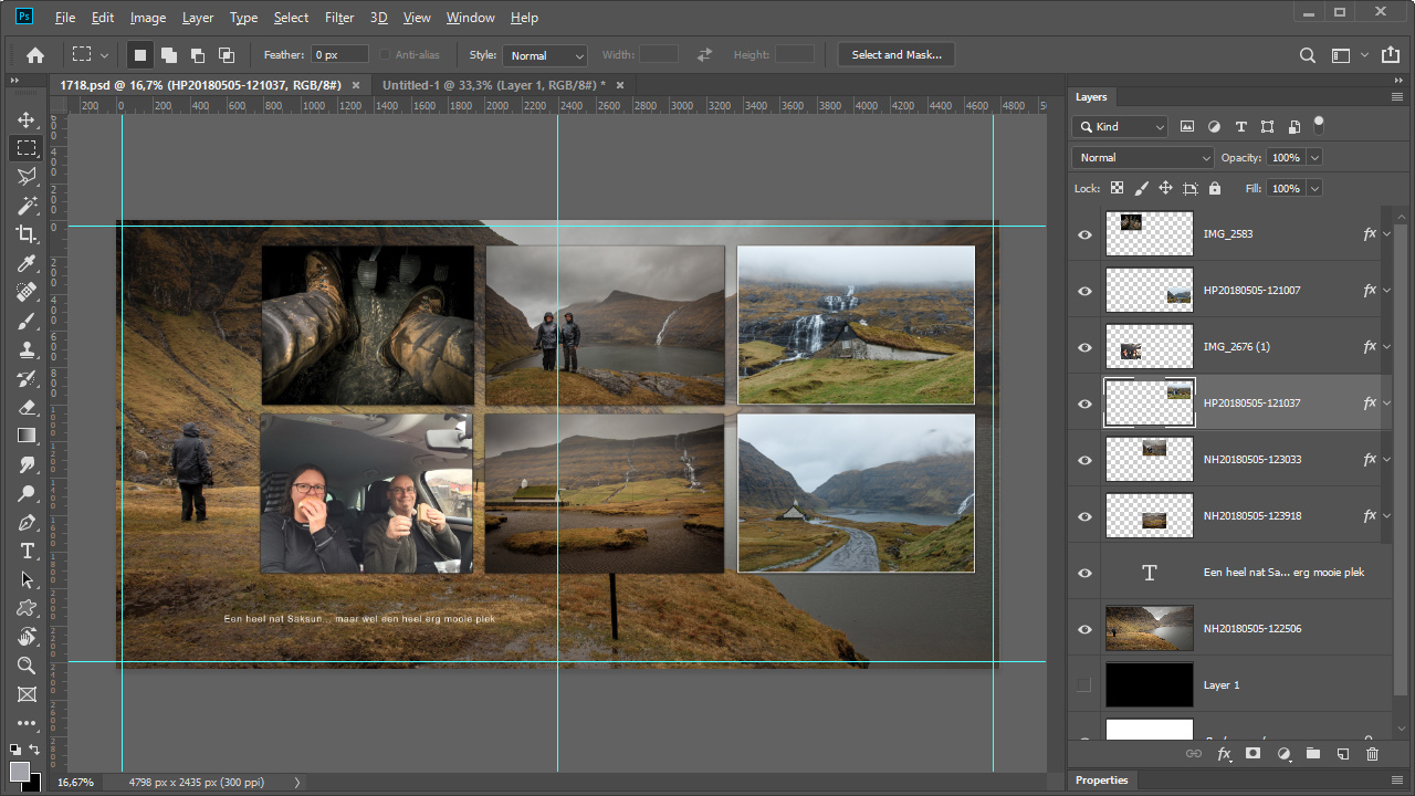 An example of a spread I made in Photoshop. It has the exact dimensions of the album I am going to order. And I am not limited to the album software of the printing company. This will be an album about our trip to the Faroe Islands