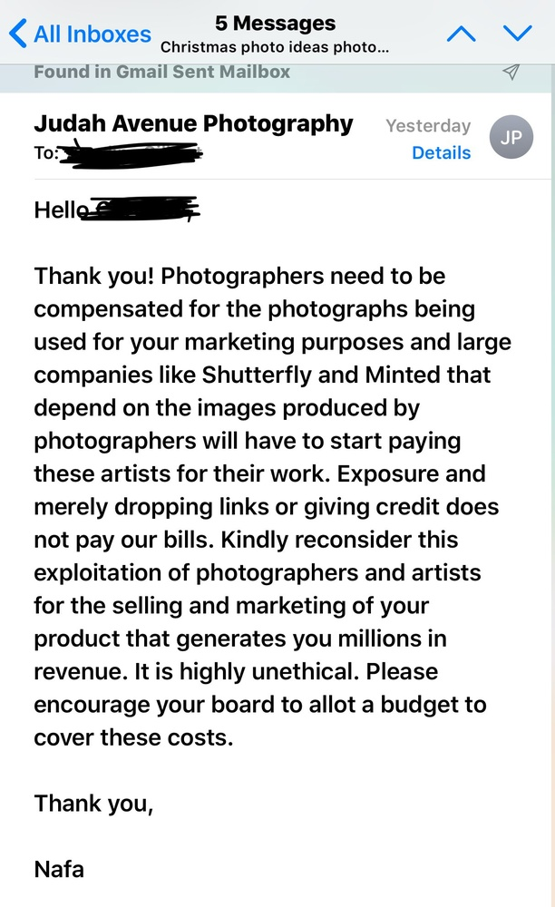 Photographer Outs Shutterfly for Trying to Obtain Free