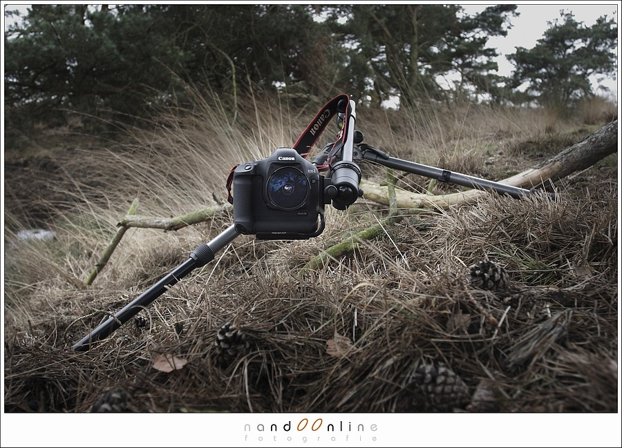 A rather unusable tripod setup, made very easy with a L-bracket. With a regular camera plate this would be much more difficult.