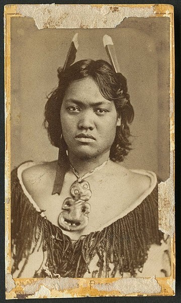 Vintage portrait of a Māori woman